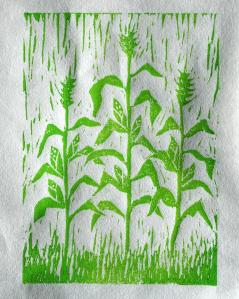 Corn stalk linocut