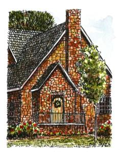 Little house watercolor