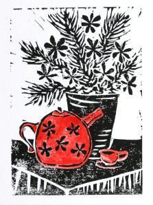 A red teapot