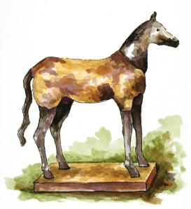 Primitive horse watercolor