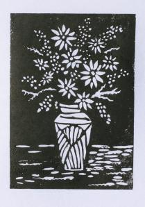 Daisy vase linocut