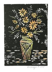 Colored linocut
