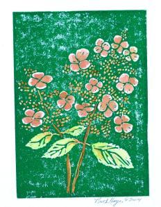 Colored hydrangea linocut